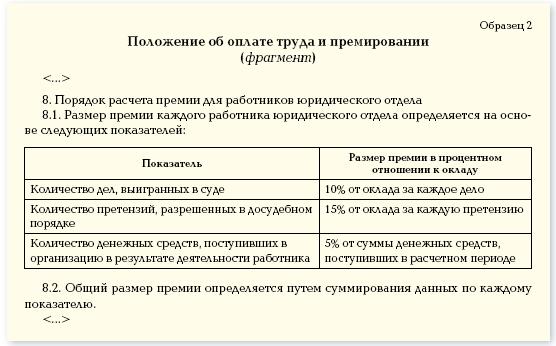 образец заполнения положения об оплате труда - фото 4